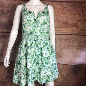 Gap Dress Tropical Print Size 4 Pockets Green
